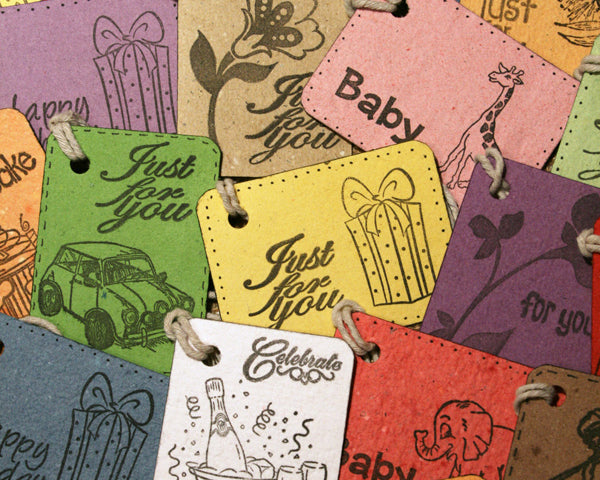 handmade paper gift tags with hand stamped designs