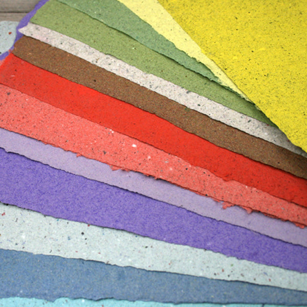 coloured sheets of handmade paper