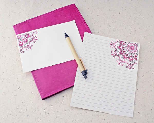 pink mandala letter writing set