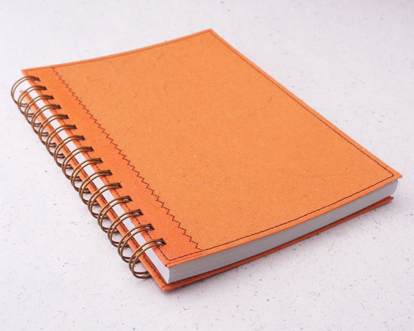 Orange Dot Grid Elephant Dung Paper Notebook