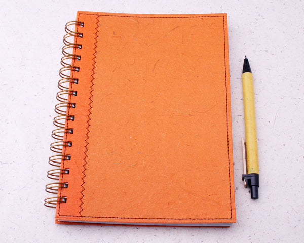 Orange Blank Elephant Dung Paper Notebook