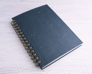 Black Dot Grid Elephant Dung Paper Notebook