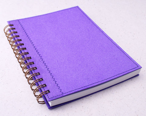 Purple Lined Elephant Dung Paper Notebook