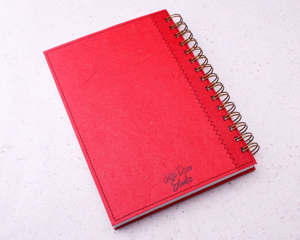 Red Blank Elephant Dung Paper Notebook