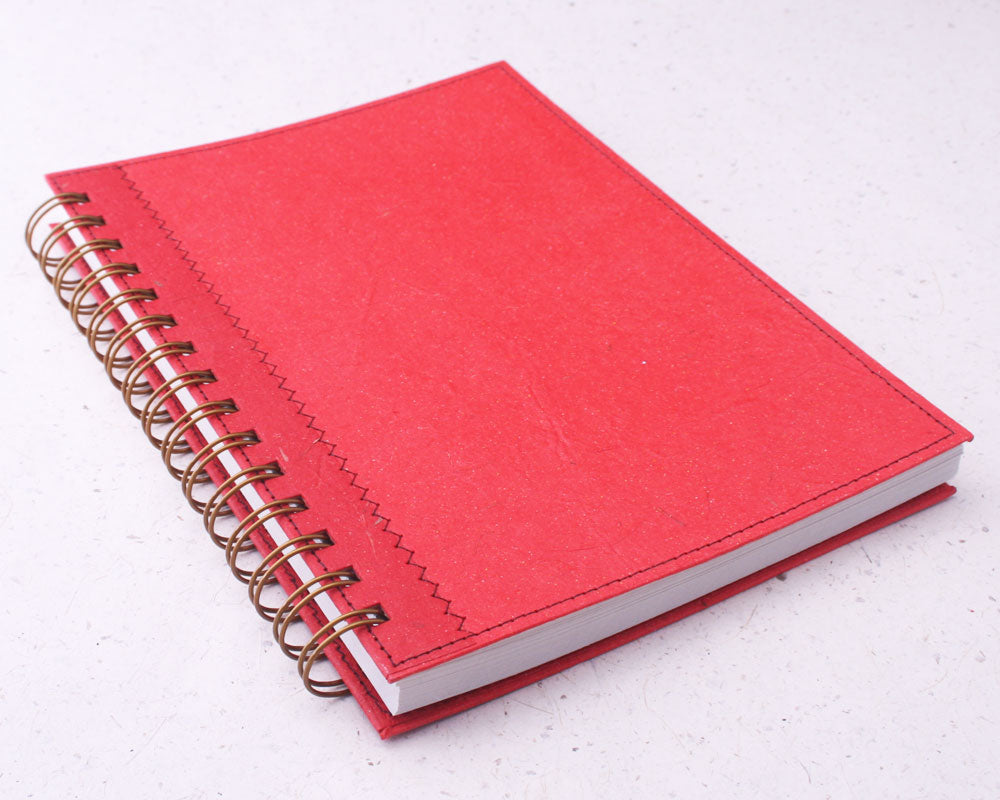 Red Dot Grid Elephant Dung Paper Notebook