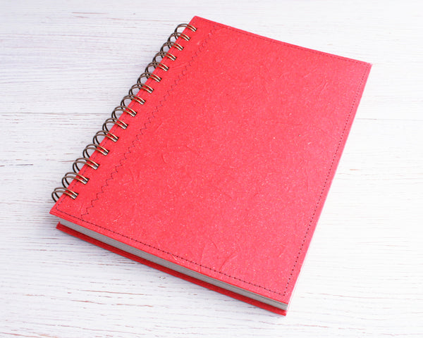 Red Lined Elephant Dung Paper Notebook