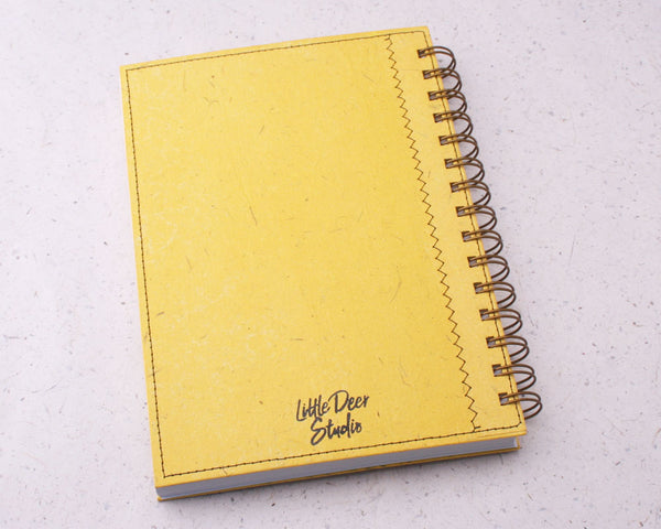 Yellow Dot Grid Elephant Dung Paper Notebook