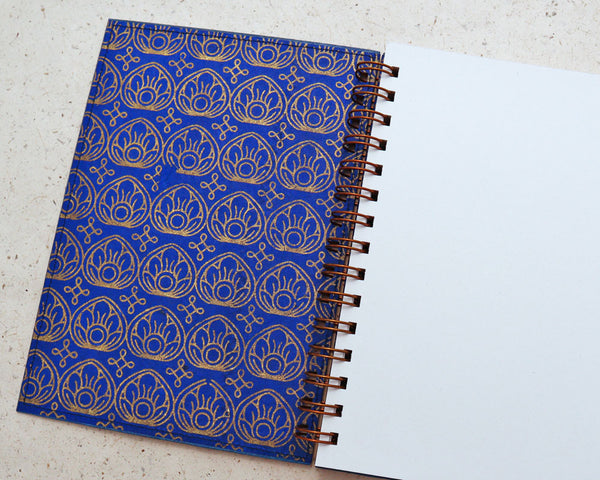 A5 Blank Notebook Blue Lotus