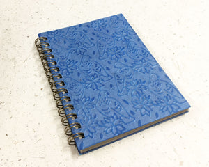 Small embossed notebook Birds Blue