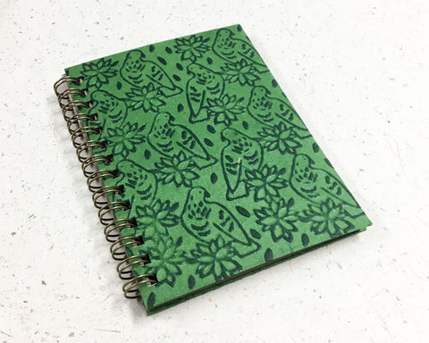 Small embossed notebook birds green
