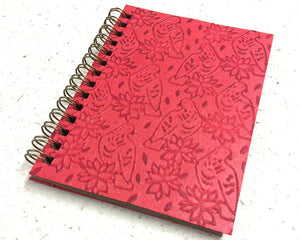 Small embossed notebook birds red