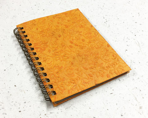 Small embossed notebook Birds Yellow