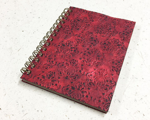 Small embossed notebook Crowns Burgundy