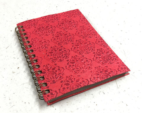 Small embossed notebook Crowns Red