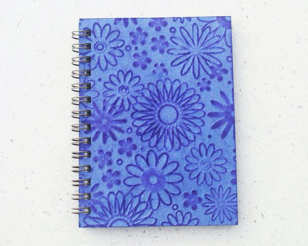 Small embossed notebook blue flowers