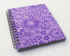 Small embossed notebook purple flowers
