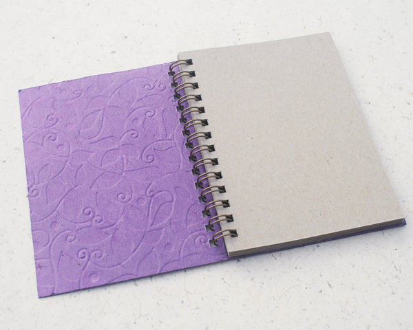 Small embossed notebook purple vine