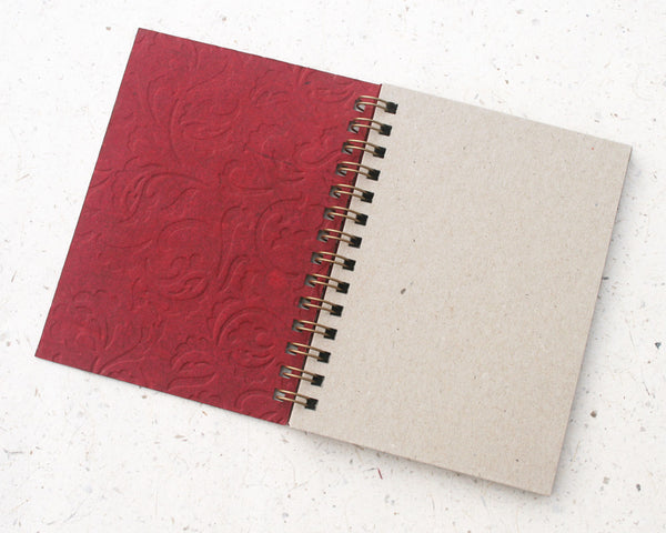 Small embossed notebook dark red paisley