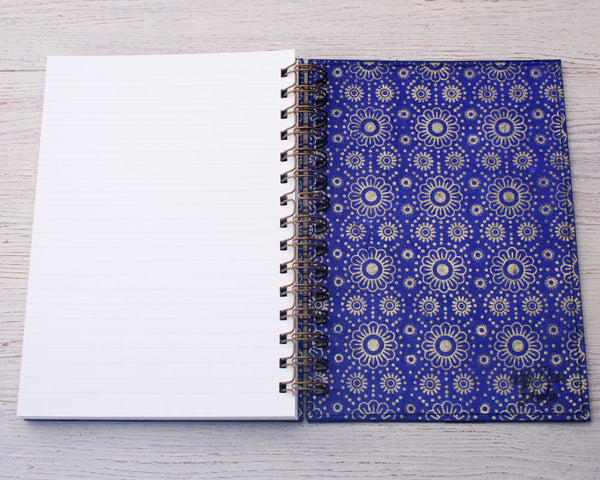 A5 Blank Notebook Blue Daisy
