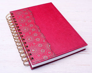 A5 Blank Notebook Red Daisy