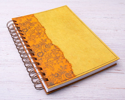 A5 Blank Notebook Yellow Floral