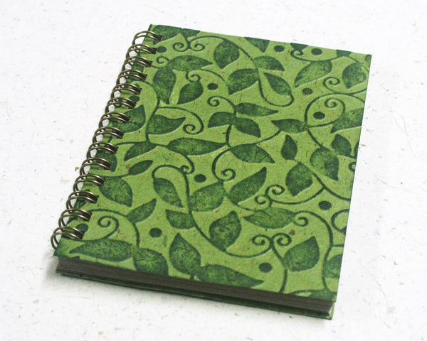 Small embossed notebook vine green