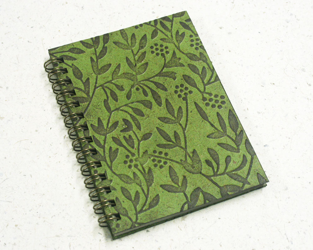 Small embossed notebook green wattle