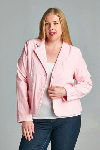 Women's Plus Size Pink Button Up Collar Blazer