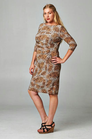 Women's Plus Size Boat Neck Leopard Printed Sheath Dress