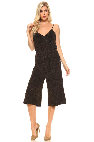 Women's Cropped Leg Sparkly Tank Jumpsuit