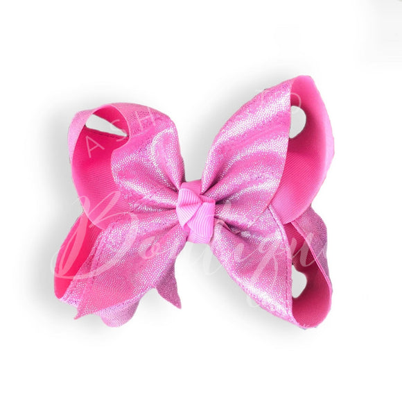 Pink confetti sparkle bow (choose size)