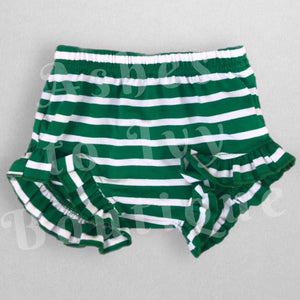 Green & white striped Mila's (with printed ruffle)