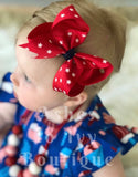 Red & white star bows (choose size)