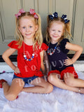 Stars & stripes bow (choose size)