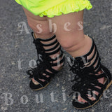 Black zip-up gladiator sandal