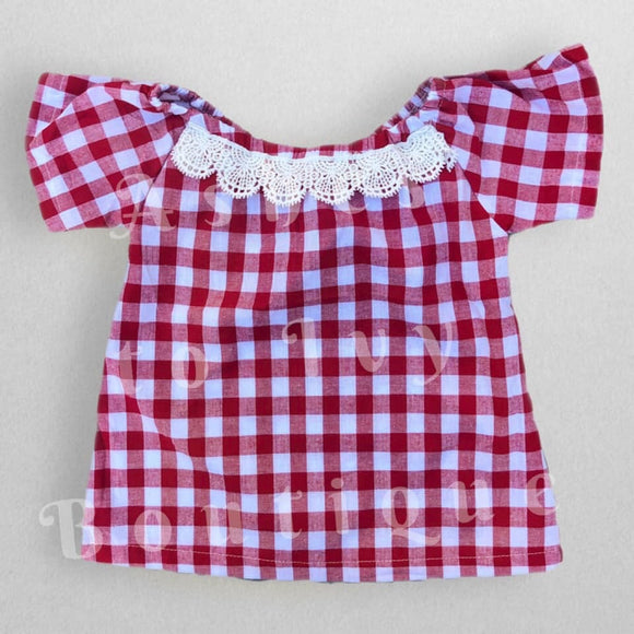 Gingham & lace woven top