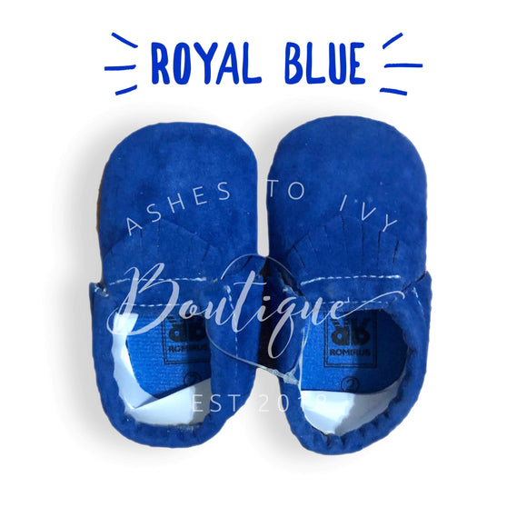 Royal blue soft sole moccs