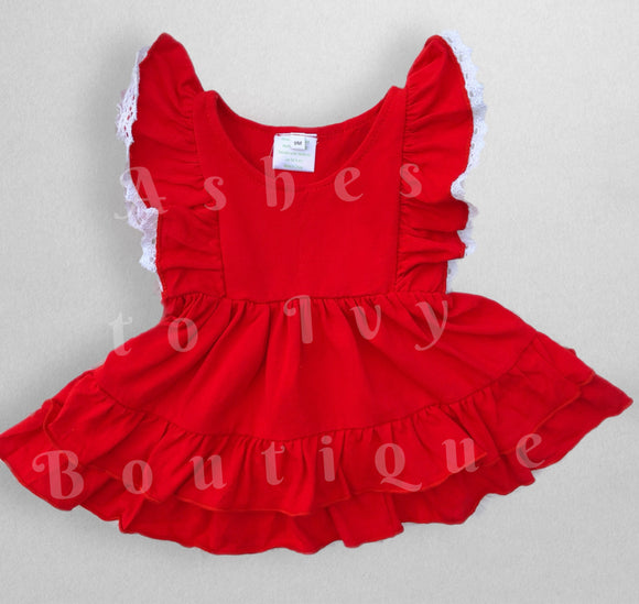 Red lace edged ruffle tunic