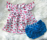 Bright turquoise blue ruffle bloomer