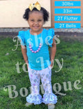 Caribbean blue flutter top