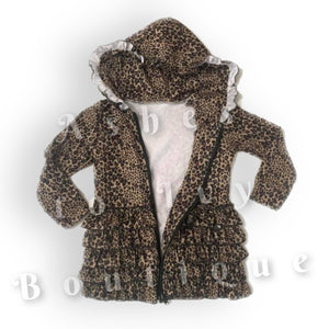 Leopard zip-up ruffle jacket