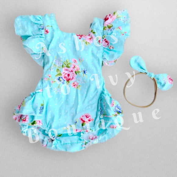 Blue floral backless bubble w/ headband