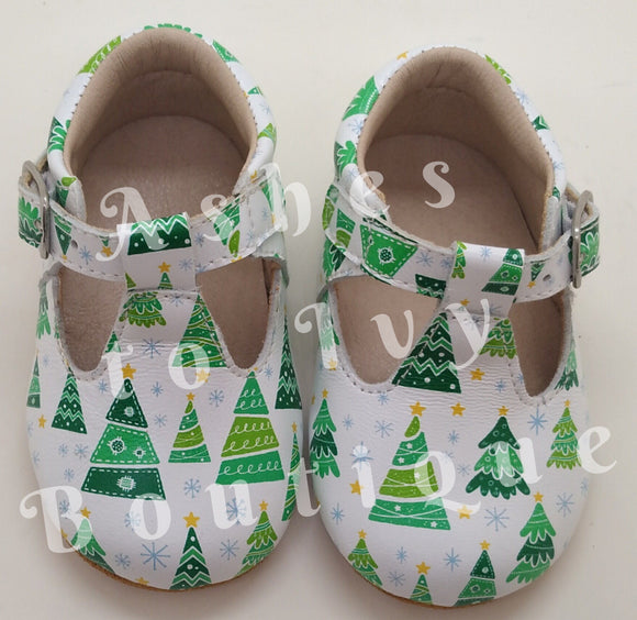Christmas tree T-bar shoes (ready to ship!!!)