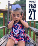 Navy floral button-back pearl