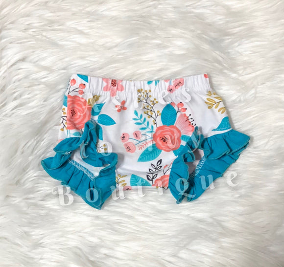 Teal/coral floral Mila shortie
