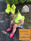 Neon pineapple yellow bow (choose size)