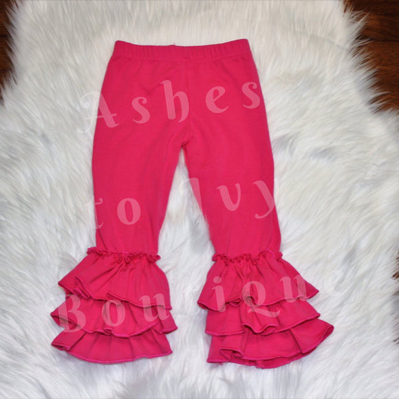 Hot pink triple ruffle bells