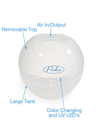 White 2 Speed Prolux Water Based Air Purifier Humidifier Aroma Therapy and Air Cleaner with UV Purification