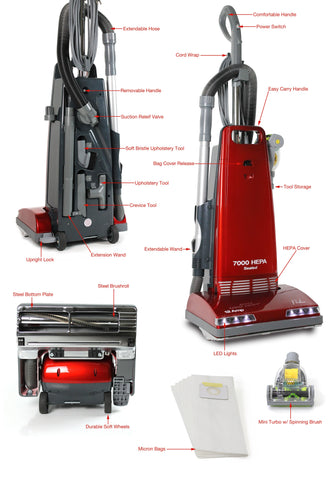 Prolux 7000 Upright Sealed HEPA Vacuum with on board tools and 7 Year Warranty