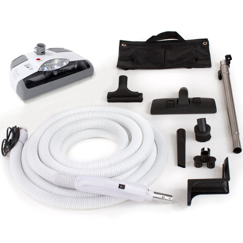 35' Central Vacuum Hose Kit with Power Head Hose and Tools For All Central Vacuum Units